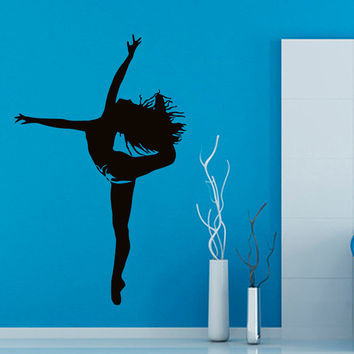Dancing Wall Decals Sport Dance Girl Dancer Vinyl Decal Sticker Home Art Mural Gym Interior Design Kids Nursery Room Decor KG195