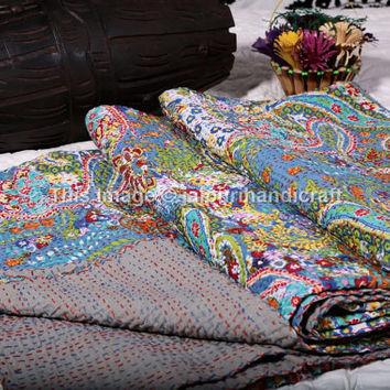 Indian Paisley Kantha Quilt, Reversible Queen Size Bedspread Throw Bedding Ralli, Bohemian Throw Kantha Quilt, Indian Kantha Quilt, Decor