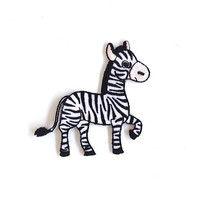 Zebra Embroidered Applique Iron on Patch Size 8 x 7.3 cm