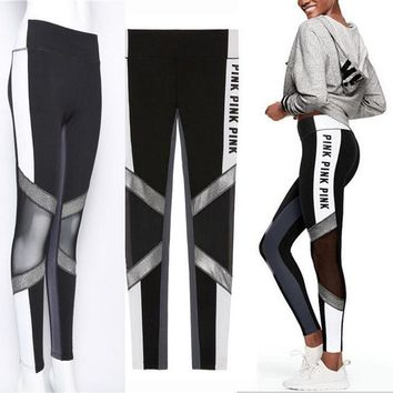 Day-First™ Victoria's Secret PINK Women's Fashion Print Exercise Fitness Gym Yoga Running Leggings Sweatpants