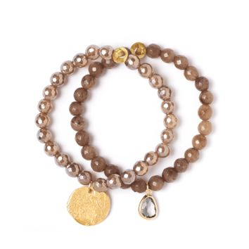 Tess and Tricia Lyra Mystic Brown Stretch Bracelet Set