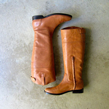 Tall Brown Leather Boots 90s Ralph Lauren Boots Vintage Equestrian Riding Boots Preppy Zip Up Fall Boho Boots Pull Up Fashion Womens size 7