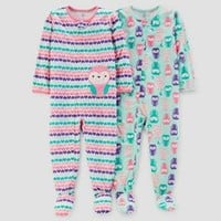 Baby Girls' 2pk Poly Hearts & Owls Pajama Set - Just One You™ Made by Carter's Green