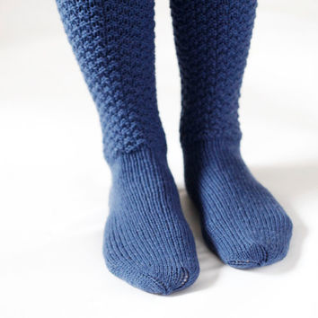 Knee high knitted socks woman blue winter -autumn socks warm and cozy