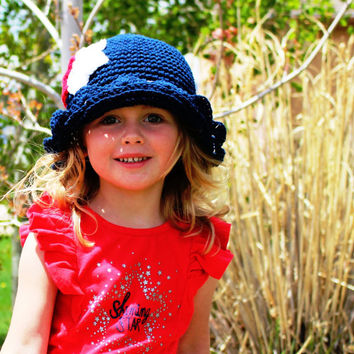 4th of July Hat, Crochet Baby Hat, Kids Hat, Hat for Girls, Summer Hat, Girls Sun Hat, Crochet Sun Hat, Sun Hat, Red White and Blue