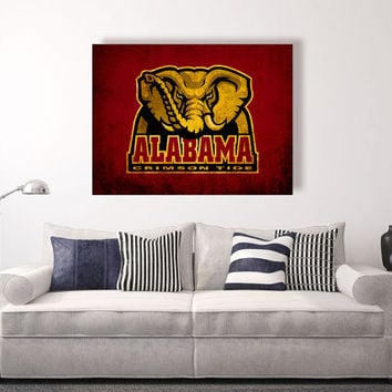 Alabama Crimson Tide vintage style Canvas Print, vintage football decor,  college football logos, apartment decorating ideas, roll tide