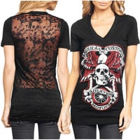 Affliction Ladies Jolly Roger V-Neck T-Shirt - Black