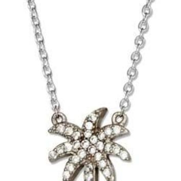 Sterling Silver Micro Pave Cubic Zirconia Palm Tree Necklace