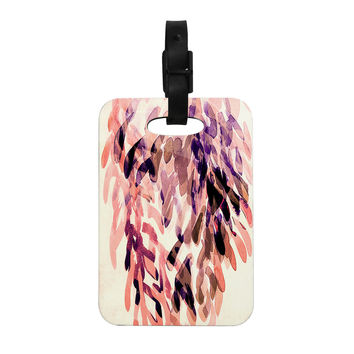 "Iris Lehnhardt ""Abstract Leaves I"" Orange Brown Decorative Luggage Tag"