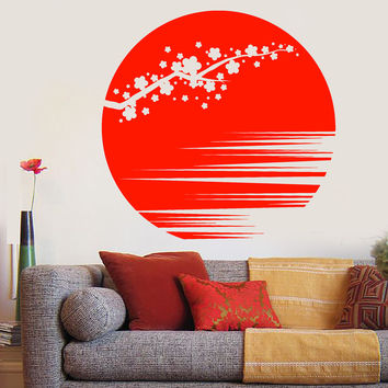 Vinyl Wall Decal Sunset Beautiful Sakura Flower Branch Asian Style Stickers Unique Gift (1142ig)