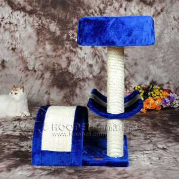 Pet Kitty Luxury House with Play Area Scratch Post and Toy Ball in Beautiful Blue