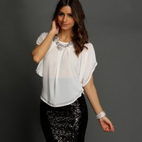 Promo-off White Embellished Blouse