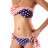 STARS and STRIPE strapless PADDED TWISTED Tie Side BIKINI AMERICAN FLAG Swimsuit