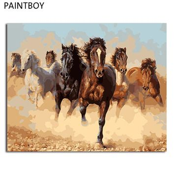 PAINTBOY Framed DIY Digital Oil Painting By Numbers Of Horses Painting&Calligraphy Home Decor Wall Art GX8945 40*50cm