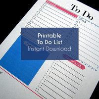 "Printable To Do List / Stylish & Minimal Organizer / Blue and Pink / A4, A5 and 8.5"" x 11"""