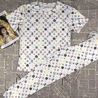 """""""LOUIS VUITTON""""Woman's Leisure  Fashion Letter Personality Printing Short Sleeve Trousers Two-Piece Set Casual Wear"""