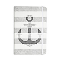 "Monika Strigel ""Stone Vintage Anchor Gray"" White Grey Everything Notebook"
