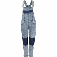 LIGHT ACID WASH COLOR BLOCK DENIM OVERALLS
