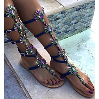 Shinning Rhinestones Slip-on Bohemian Long Boots Sandals
