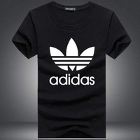 """""""Adidas""""  Fashion Casual Unisex Floral Pattern Letter Print Short Sleeve T-shirt"""