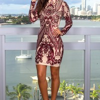 Burgundy and Nude Sequin Short Dress
