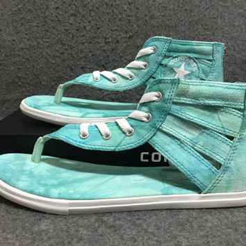 d6e927ac6ef2 Converse Leisure Mint Green Tie-dye Herringbone Roman Sandals
