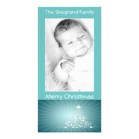 Teal Christmas Tree of Stars Teal Background Card