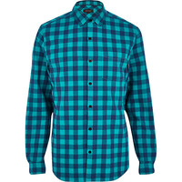 River Island MensTurquoise check long sleeve shirt