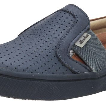 Old Soles Girl's and Boy's 6004 Hoffing Shoe Denim Tan Perforated Upper and Smooth Leather Back Slip On Loafer Sneaker