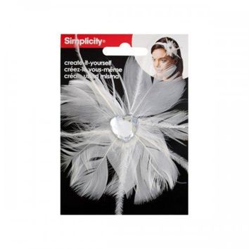 Simplicty White Feather W/jewel Headband Accend (pack of 24)