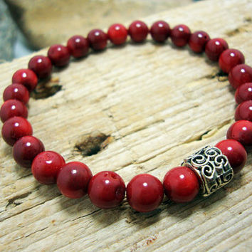 FREE SHIPPING - Men bracelet, Men's beaded bracelet, gemstone men bracelet, Red Coral Stone charm Bracelet