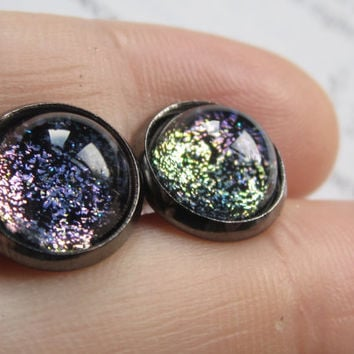 Entropy - Earring studs - science jewelry - science earring - galaxy jewelry - physics earrings - fake plugs - plug earrings - nebula studs