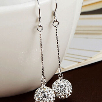 New Silver Plated Drop Earrings For Women High Quality Crystal Long Dangle Earrings