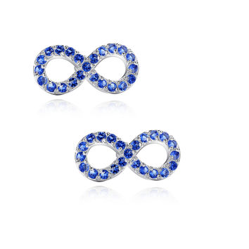Infinity W. Blue Cubic Zirconia Stud Earrings