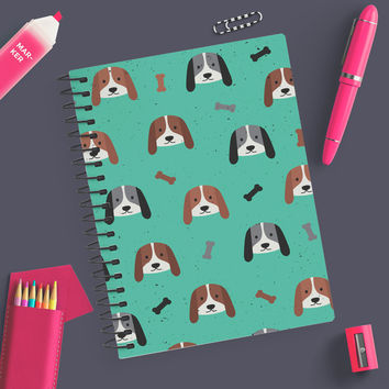"5.5"" x 8"" Blank Spiral Puppy Dog Notebook Journal - Write Puppy Dog Notes In Style / Green"