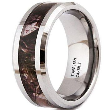 8mm Tungsten Carbide Ring Tree Camo Camouflage Hunting Vintage Wedding Band