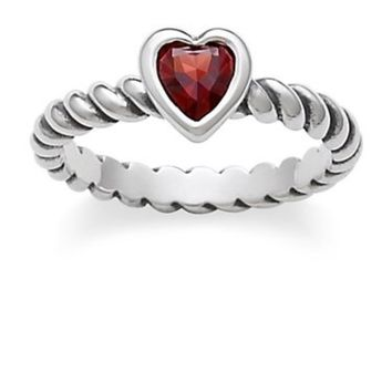 James Avery twisted wire heart ring with garnet.