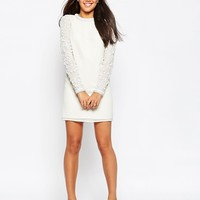 ASOS Mini Shift Dress With Embellished Sleeves at asos.com