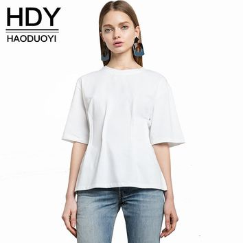 Women Fashion Summer Solid White Tops Preppy Style Casual T-shirt Half Sleeve Ruched Slim T-shirts