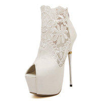 Women Fashion Platform Ankle Boots Sexy Extreme High Heels Open Toe Wedding Bridal Lace Shoes Woman Stiletto Booties Myu139-28