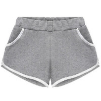 Grey Elastic Waist Contrast Trims Jogger Shorts