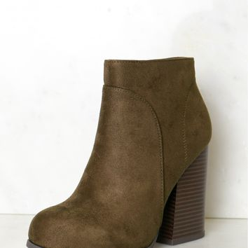 High Heel Ankle Booties Dark Forest