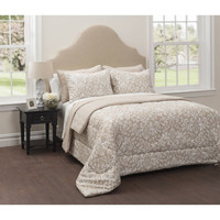 CASA Jasmine 6-Piece Bedding Comforter Set with Bonus Quilt Queen