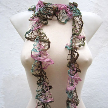 Ruffle Scarf,Frilly scarf,Crochet Scarf,Pink Green,Salsa