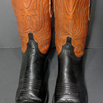 LUCCHESE Brown Black Leather Cowboy Boots Women's Size 9