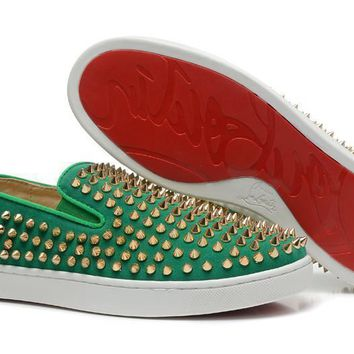 DCCK2 Christian Louboutin Pik Boat shoe Green gold spike
