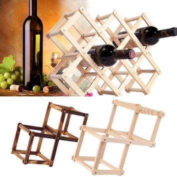 Hot Wooden Red Wine Rack 3/6/10 Bottle Holder Mount Kitchen Bar Display Shelf  New