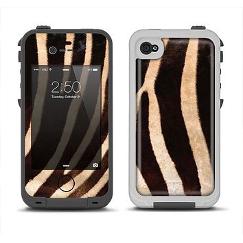 The Real Zebra Print Texture Apple iPhone 4-4s LifeProof Fre Case Skin Set