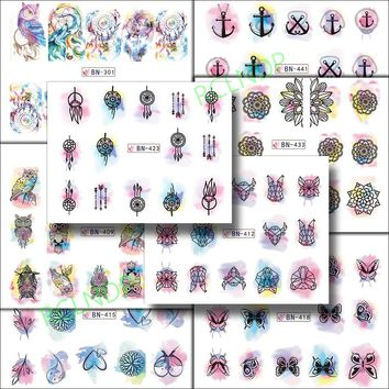 Water sticker for nail art decoration slider dream catcher feather mandala watercolor sticker design decal lacquer accessoires 7