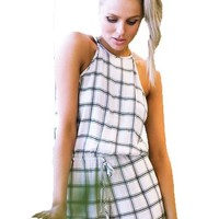 Women's Summer Sexy Sleeveless Spaghetti Strap Jumpsuit Plaid Rompers Playsuit
